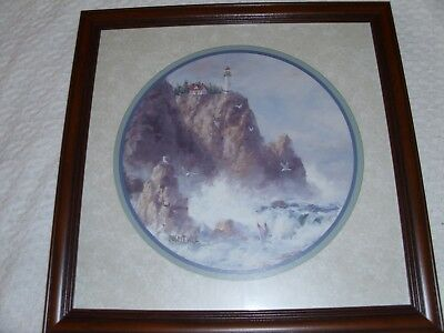 Picture, Framed Light house on Cliff side. Home Interior (Homco)