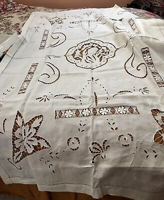 Beige Vintage Madeira? Linen Lace Embroidered Tablecloth 65 x 41.75 inches?