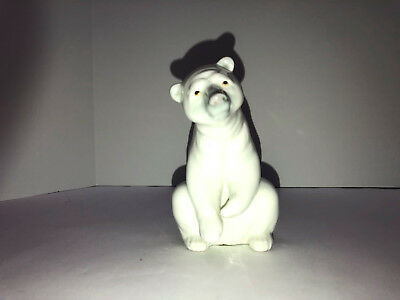 LLadro Porcelain White Bear in Partially Standing Position