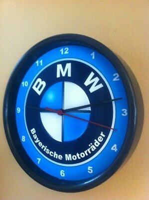 BMW Motorcycle Logo Garage Advertising Man Cave Wall Clock Sign