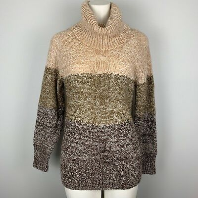 046cb86a426490 VTG 70s Women's Cowl Neck Sweater Brushed Knit Acrylic Boho Brown Cable  Knit Med