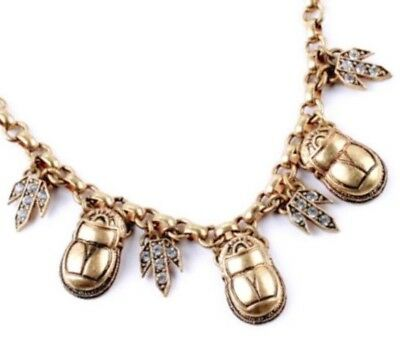 EGYPTIAN REVIVAL SCARAB BEETLE BUG White Crystal Rhinestone Chunky Gold Necklace