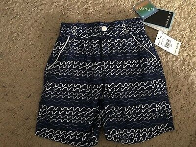 Nwt—Andy & Evan Boys Navy Wave Stripe Swim Suit/shorts-Size 3T