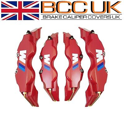 NEW BIG RED Brake Caliper Covers Kit White ///M Logo Front Rear 4x L+M fits BMW
