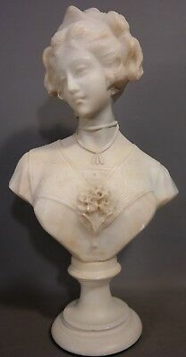 Ca.1900 Antique ART NOUVEAU LADY BUST Old TIARA Carved MARBLE Alabaster STATUE