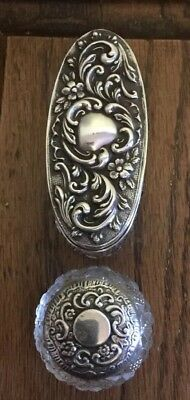 TWO Antique Art Nouveau Hallmarked Sterling Silver Topped Cut Glass Jar 1902/11