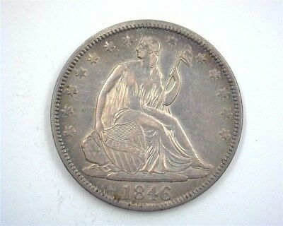 1846 Seated Liberty Silver 50 Cents -Tall Date- Choice About Uncirculated