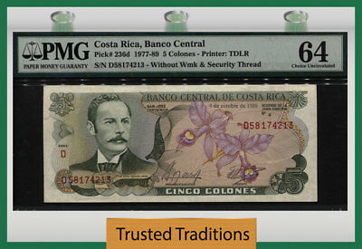 TT PK 236d 1977-89 COSTA RICA 5 COLONES BANCO CENTRAL PMG 64 CHOICE UNCIRCULATED