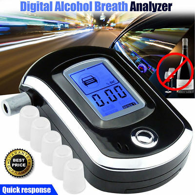 Professional Police Breath-Alcohol Tester LCD Digital Breathalyser 5 Mouthpieces