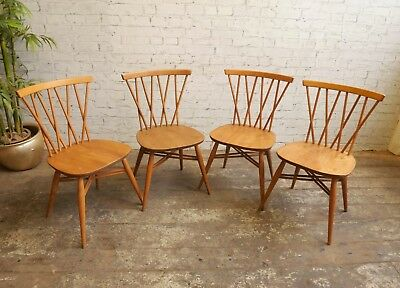 4 Vintage 60s Mid Century Modern Ercol Windsor Candlestick Dining Kitchen Chairs