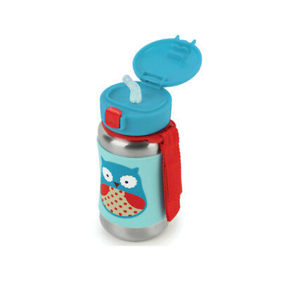 Skip Hop Kids Water Bottle With Straw, Stainless Steel Sippy Cup Owl 12oz