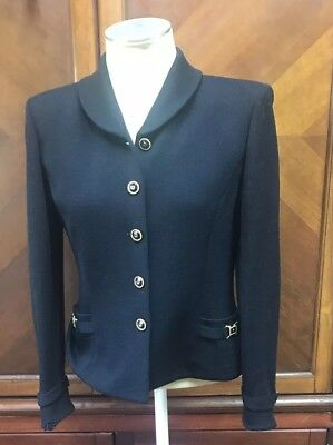 St John Collection Marie Gray Santana Knit Ladies Classic Jacket Size 6 Black