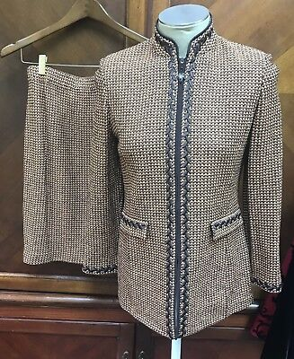 St John Collection Marie Gray 2 Pc Knit Skirt Suit Sz 4  Apricot Chocolate Brown