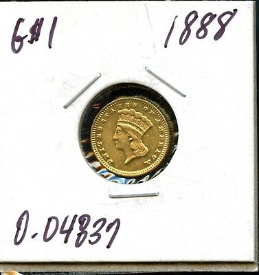 1888 $1 United States Indian Princess Head Gold Dollar JM694