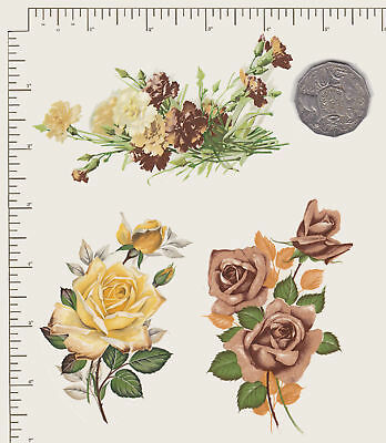 Waterslide ceramic decals Decoupage Bronze / yellow Floral Roses Carnations