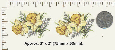 """2 x Ceramic decals Decoupage Daffodils Yellow flowers Approx. 3"""" x 2"""" PD934"""