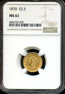 1878 $2.5 NGC MS 61 (MINT STATE 61) Liberty Head Quarter Eagle Gold Coin AD116