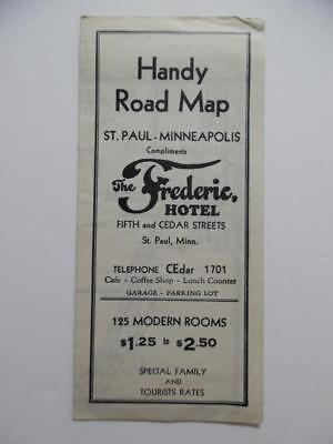 c.1930 Frederic Hotel Advertising Road Map Minneapolis St Paul Minnesota Vintage