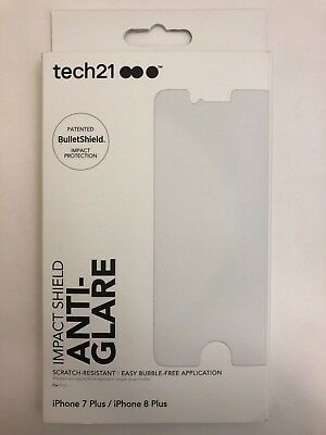 newest c4349 41d0c TECH 21 IMPACT Anti-Glare Shield Screen Protector for iPhone 8 Plus 7 Plus