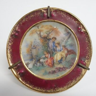 Vintage Limoges Miniature Porcelain Plate In Stand Mount - Made In France