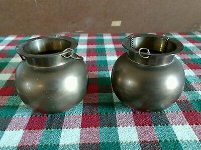 "Vintage Copper/Brass Hanging Pots Cauldron 3.5"" Round and 3.5""tall 2.25"" opening"