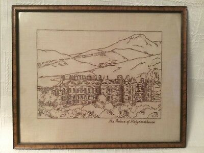 Vintage 1930s Embroidery Picture Landscape Framed The Palace Of Holyrood House