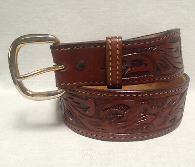 """Western Hand-Tooled Brown Leather Belt 32"""" Made in USA ~ Unused"""