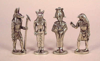 Four Egyptian God Amulets in Fine Pewter - Anubis, Bast, Horus, Osiris