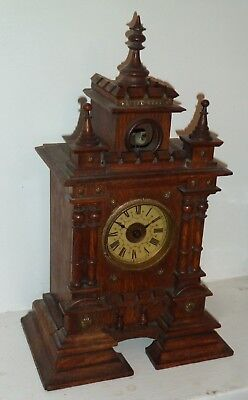 Antique castle shape shelf cuckoo clock c1900 - GWO & Great condition