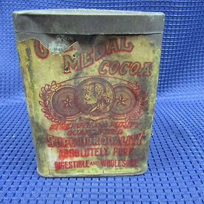 Vintage tin can Absolutely Pure Gold Medal Cocoa