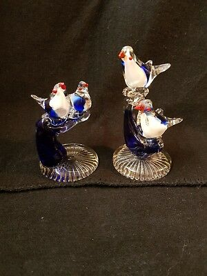 Vintage 2 Figurines Murano Art Glass Birds on Branch Italian Hand Crafted