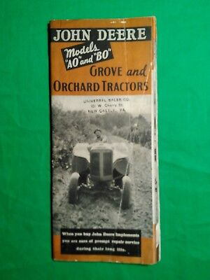 Vintage John Deere Models AO and BO Grove and Orchard Tractors Brochure