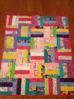 """Handmade Rail Fence quilt for a girl 37"""" X 45"""""""