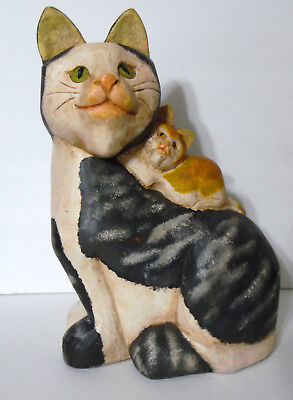 "Folk Art 13"" Hand Carved & Painted Wooden Cat With Kitten Figurine Statue"