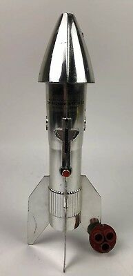 Vintage Astro Berzac Metal Rocket Guided Missile Piggy Bank Mechanical