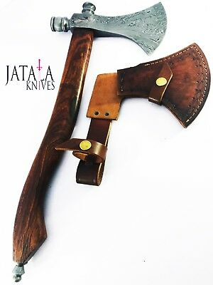 CUSTOM HANDMADE FORGED DAMASCUS STEEL BLADE TOMAHAWK HATCHET Axes