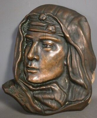 1921 Antique THE SHEIK Old SILENT MOVIE Art BRONZED ADVERTISING Sculpture PLAQUE