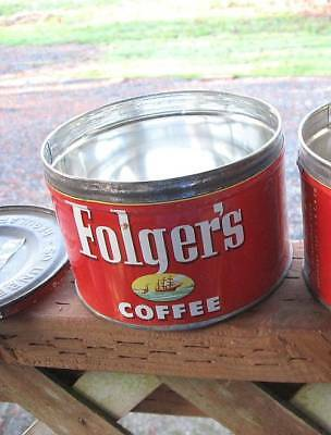 Vintage Folgers 1 Lb Coffee Can Key Wind, With Lid ~ Free Shipping!