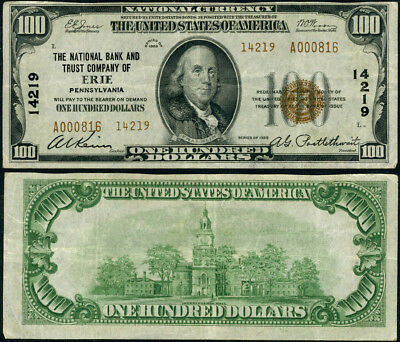 Erie PA-Pennsylvania $100 1929 T-2 National Bank Note Ch #14219 NB & TC VF+