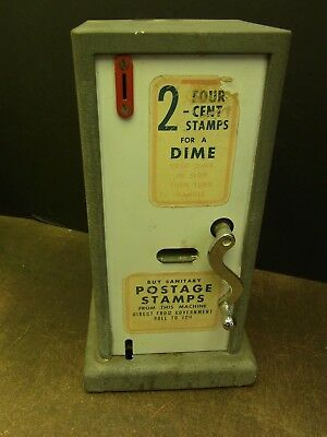 Vintage Working Postage Stamp Machine Crank Style With Cash Box & Instructions