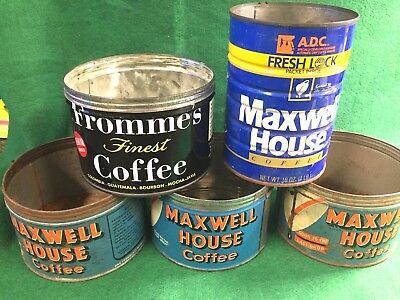 Lot of 5 Vintage Coffee Tin Cans Fromme's, Maxwell House
