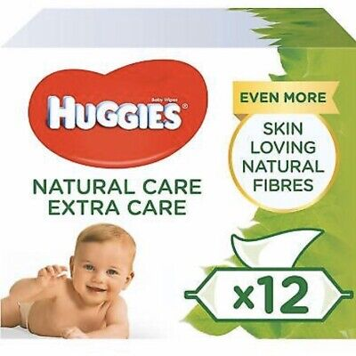 Huggies Pure Extra Care Baby Wipes, 12 Packs x 56 = 672 Sensitive Baby Wipes