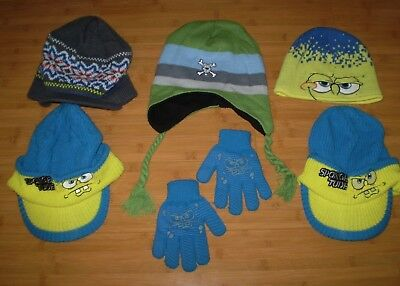 Youth Boys SpongeBob Scooby Winter Hat & Glove Lot GOOD COND billed knit caps