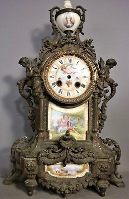 19thC Antique VICTORIAN BRONZED & PORCELAIN Old WINGED PUTTI Statue MANTEL CLOCK
