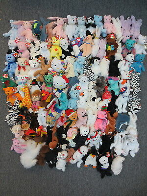 ~100 TY BEANIE BABIES COLLECTION LOT -WHOLESALE BULK BEANIES (HELLO KITTY +more)