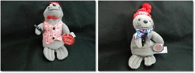 """NEW Seal with Coke Bottle 9"""" Plush With Tags Coke Vest w/Hat or Blue Coke Scarf"""