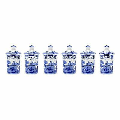 Spode 1389542 Blue Italian Spice Jar, Set of 6