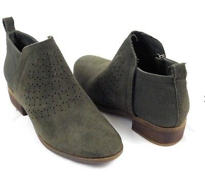 28c8cdde5ce NEW women s TOM S forest Green Deia Perforated Suede Ankle Boots Booties Sz  12