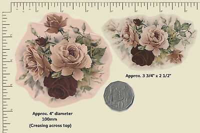 2 x Ceramic decals Pink and Burgundy Roses Florals Flowers PLEASE READ A17