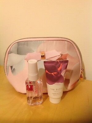 Ted Baker Beauty to Behold Pink make up bag (hand cream & Body Spray)